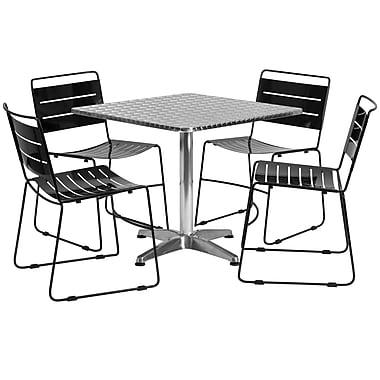 Flash Furniture – Table carrée 31,5 po en aluminium avec 4 chaises empilables en métal, int./ext. (TLH-ALUM-32SQ-HA1BK4-GG)