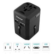 Insten – Adaptateur d'alimentation internationale de voyage avec chargeur international intégré à 2 ports USB de 2,5 A