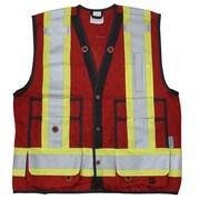 Viking – Veste de sécurité Surveyor, polyester 150 deniers, panneaux en filet pour circulation d'air, rouge