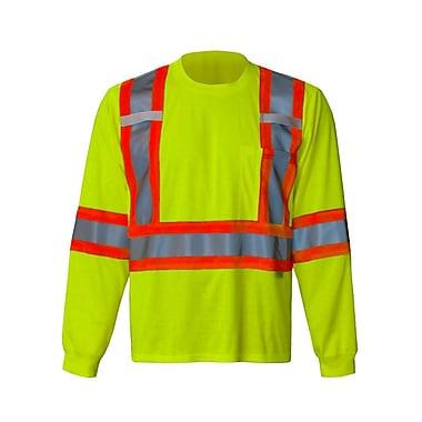 Viking Safety Long Sleeve T-Shirt, Sealed Pocket/Pen Slot, Radio Clip Straps, Green