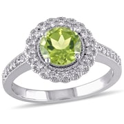 Allegro STP000075, 1/8 CT TW Diamond and Peridot Halo Ring in Sterling Silver