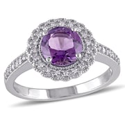 Allegro STP000074, 1/8 CT TW Diamond and Amethyst Halo Ring in Sterling Silver