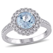Allegro STP000073, 1/8 CT TW Diamond and Blue Topaz Halo Ring in Sterling Silver