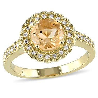 Allegro STP000072, 1/8 CT TW Diamond and Citrine Halo Ring in Yellow Plated Sterling Silver