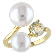 Allegro STP000186-10, White Freshwater Cultured Pearl Ring with Green Amethyst in Yellow Plated Sterling Silver