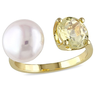 Allegro STP000191-10, 10 - 10.5mm White Freshwater Cultured Pearl Ring with Lemon Quartz in Yellow Plated Sterling Silver