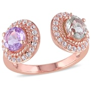 Allegro STP000197-10, Rose de France, Green Amethyst and White Topaz Open Band Halo Ring in Rose Plated Sterling Silver