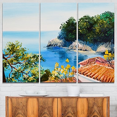 Art mural en métal paysage avec maison près de la mer