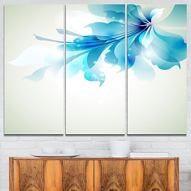Tender Blue Abstract Flowers Floral Metal Wall Art