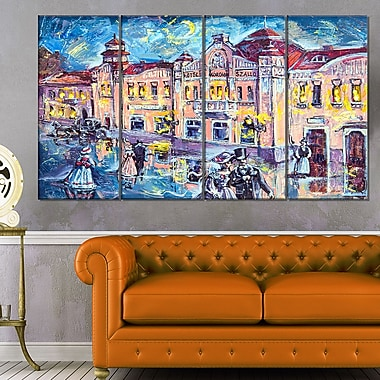 City at Night with People Cityscape Metal Wall Art