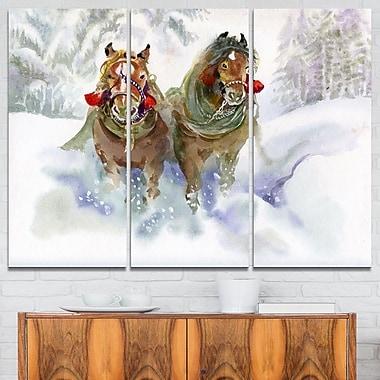 Horses Running in Winter Animal Metal Wall Art