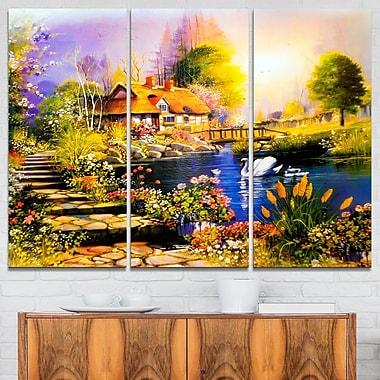 Art mural en métal, paysage, maison près du lac aux cygnes