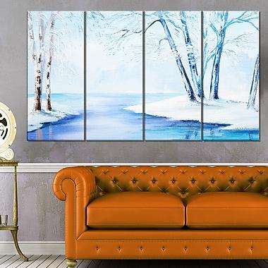 Art mural en métal, paysage hivernal, rivière enneigée