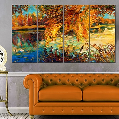Autumn Forest and Sky Landscape Metal Wall Art