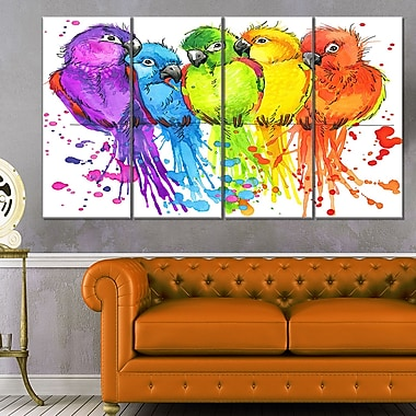 Colourful Parrots Illustration Animal Metal Wall Art