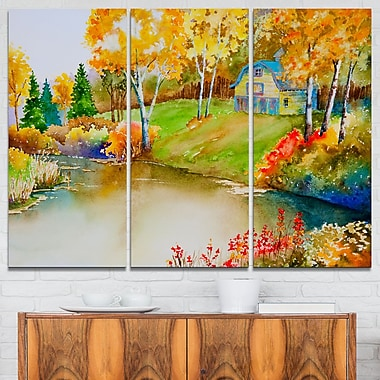 House and Quiet Pond in Fall Landscape Metal Wall Art
