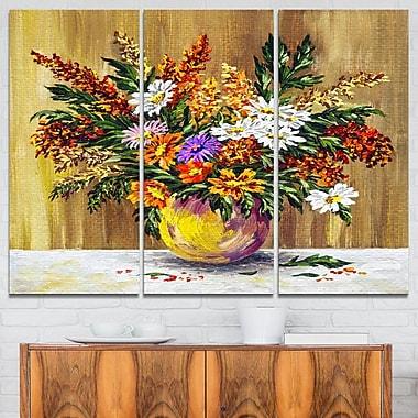Art mural en métal, fleurs sauvages dans une casserole