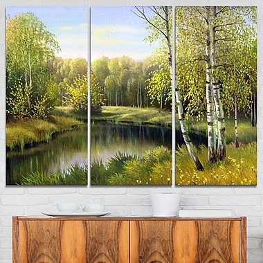 Art mural en métal, rivière d'automne tranquille, paysage