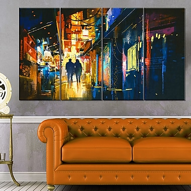 Couple Walking in an Alley Cityscape Metal Wall Art