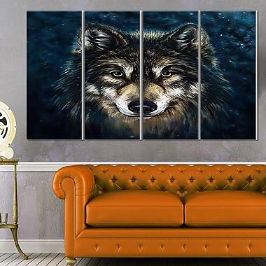 Art mural en métal loup souriant