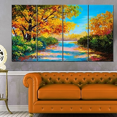 Autumn Forest with Colourful River Metal Wall Art