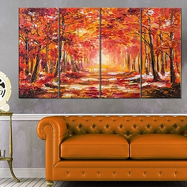 Autumn Forest in Red Shade Landscape Metal Wall Art