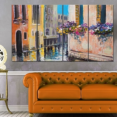 Canal in Venice with Flowers Cityscape Metal Wall Art