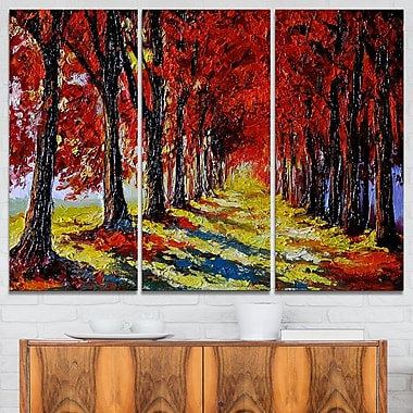 Autumn Forest with Red Leaves Landscape Metal Wall Art