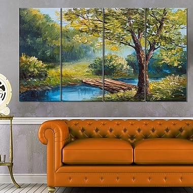 Art mural en métal paysage de forêt estivale avec magnifique rivière