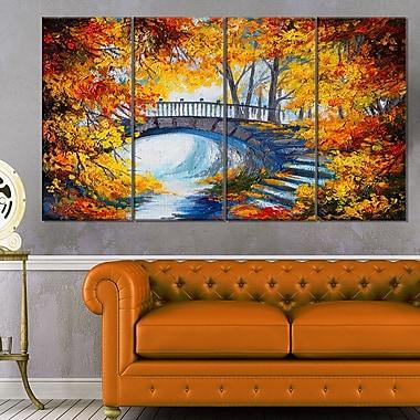 Art mural en métal, forêt d'automne avec un pont, paysage