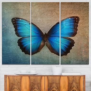 Art mural en métal, papillons rétro bleus