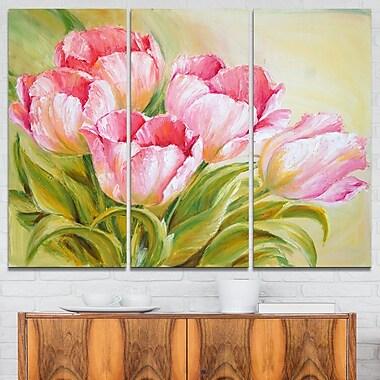 Art mural en métal peinture à l'huile à motif floral de tulipes