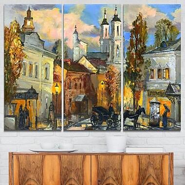 Art mural en métal vue panoramique de la ville ancienne