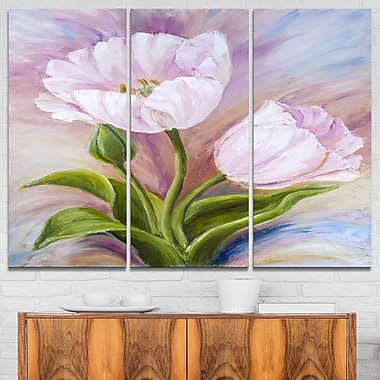 White Tulips Floral Metal Wall Art