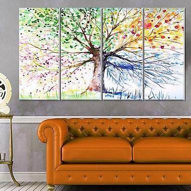 Art mural en métal arbre floral à quatre saisons