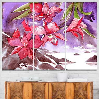 Red Orchid with Sea Floral Metal Wall Art