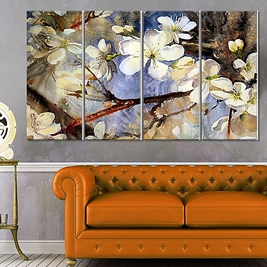 White Spring Flowers Floral Metal Wall Art
