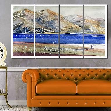 Art mural en métal paysage avec montagnes et mer bleue