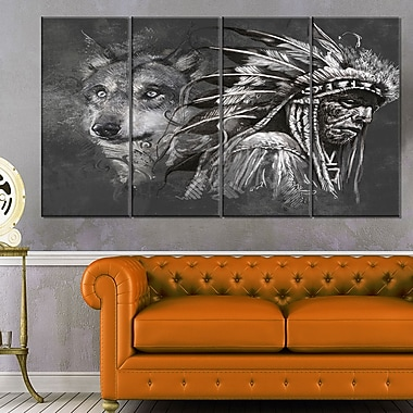 Wolf and American Indian Chief Metal Wall Art