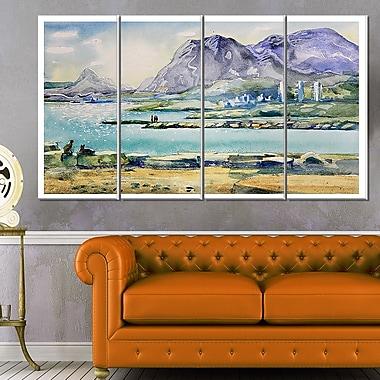 Art mural en métal, panorama, collines bleues en aquarelle