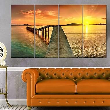Art mural en métal, coucher de soleil panoramique sur le quai, photographie