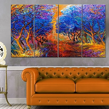 Blue Autumn Forest Landscape Metal Wall Art