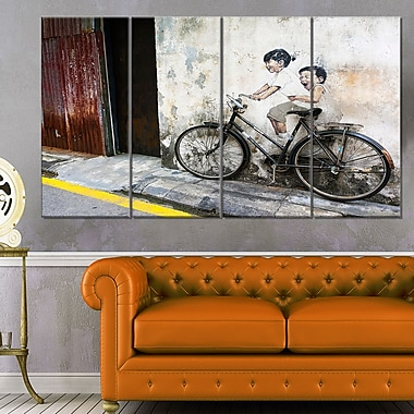 Little Children on a Bicycle Photo Metal Wall Art