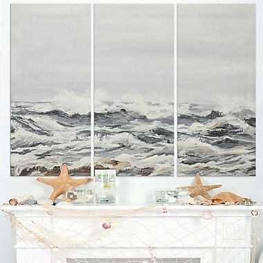 Grey Sea Waves Seascape Painting Metal Wall Art