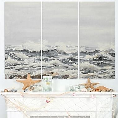 Art mural de peinture de paysage marin en métal, vagues grises