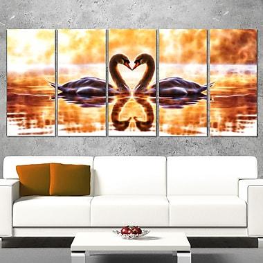 Art mural en métal, illustration romantique de deux cygnes