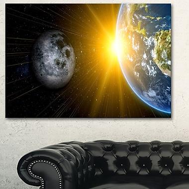Art mural en métal, notre soleil, notre Lune et notre planète Terre