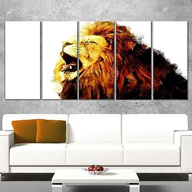 Art mural animal en métal, lion rugissant