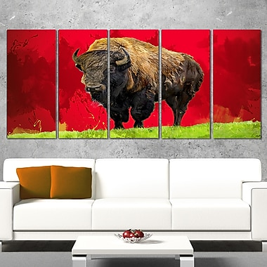 Art mural animal en métal, bison solitaire