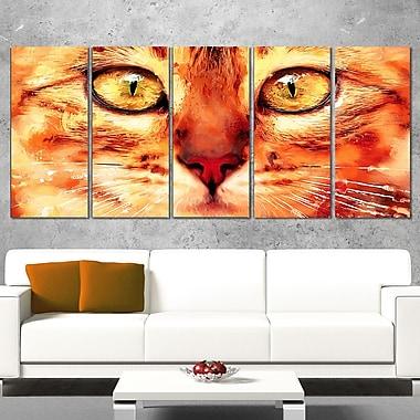 Art mural animal en métal, regard félin